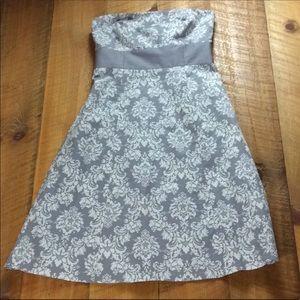 Ann Taylor Loft gray & white strapless dress 6